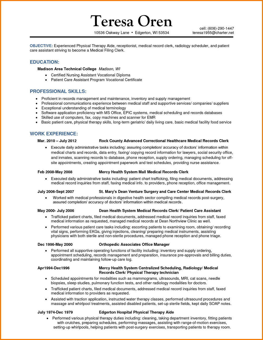 Resume For Certified Medical Coder