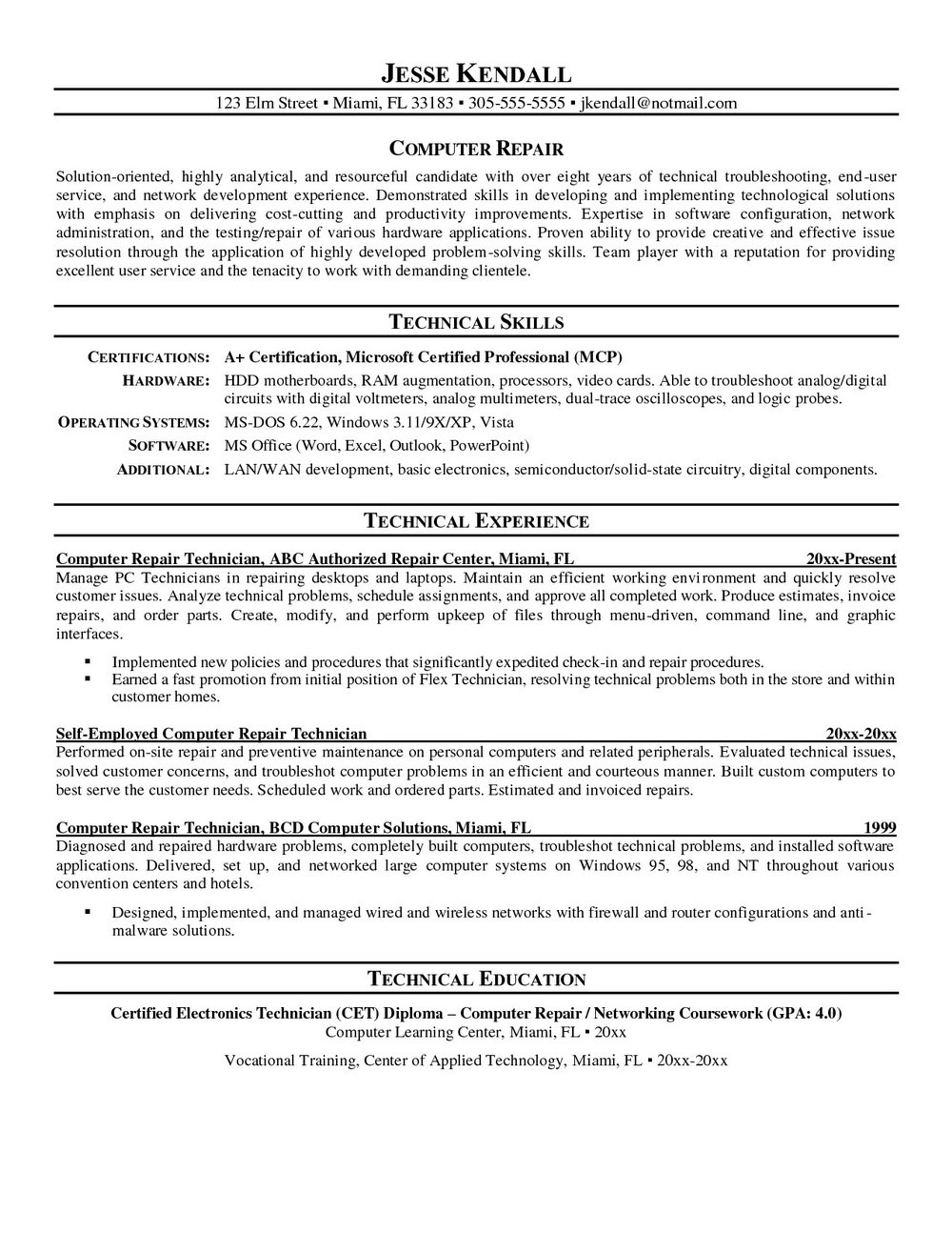 Resume For Computer Technician Job