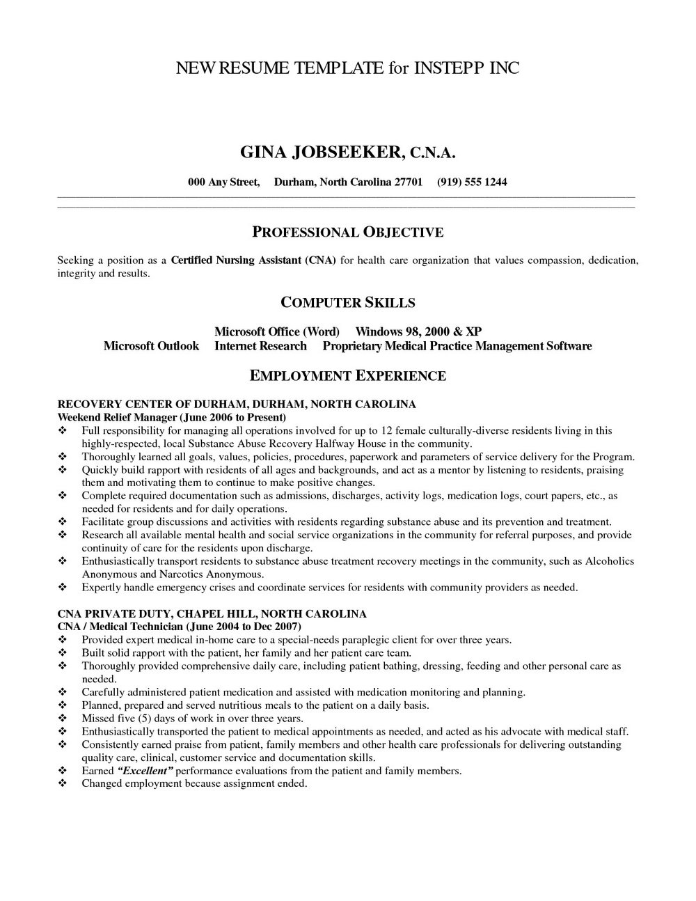 Resume For Nursing Assistant Sample