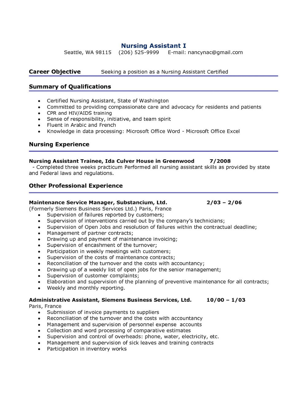 Resume For Restorative Nursing Assistant