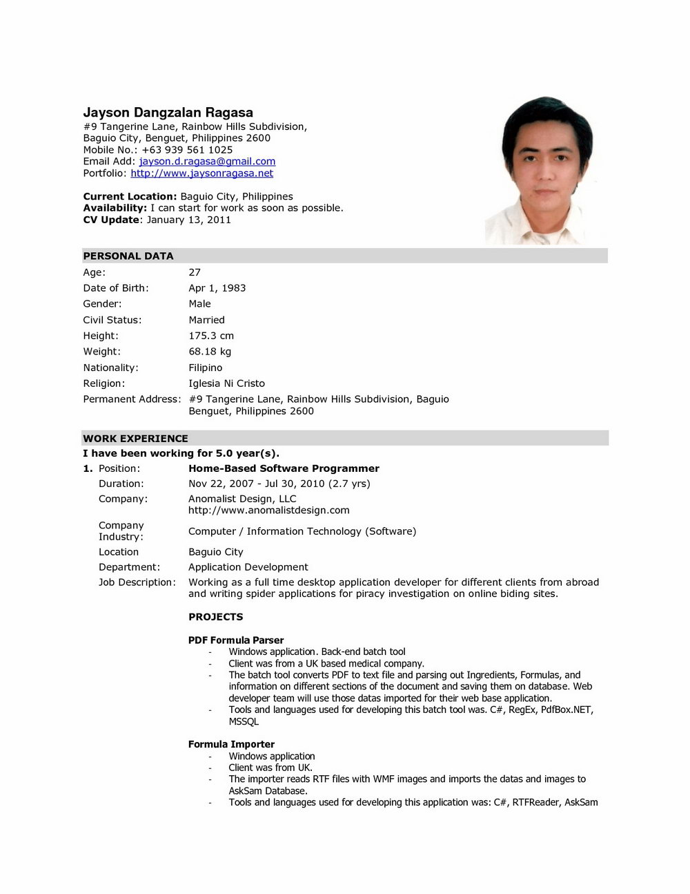 Resume Format For Nurses In The Philippines