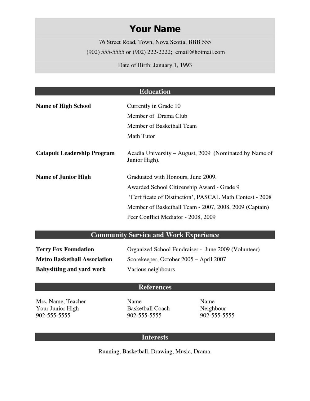 Latest Resume Format Doc File Download | Universal Network