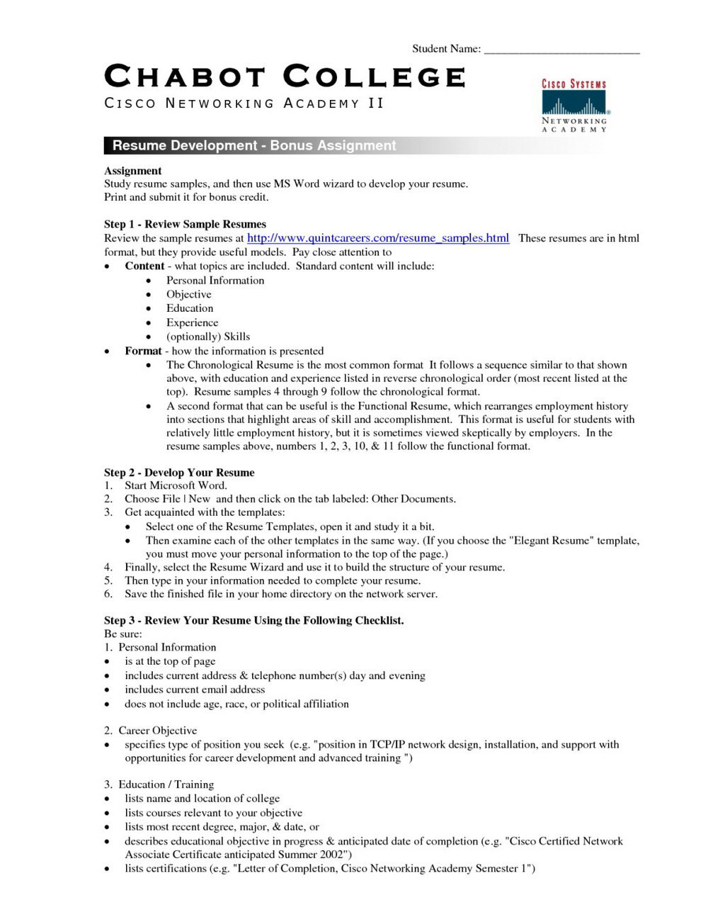Resume Format Word Document Free Download