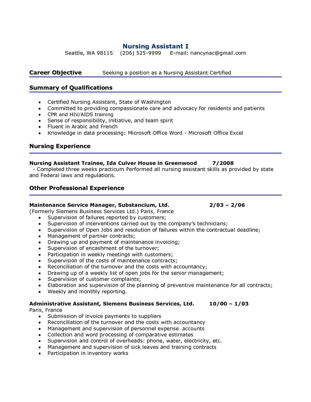 Resume Objective For Nursing Assistant With No Experience