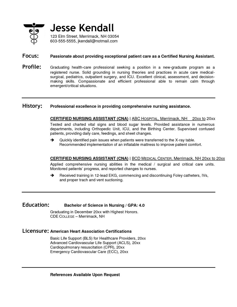 Resume Sample For Nursing Assistant Cna