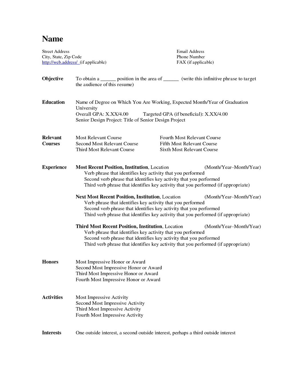 Resume Templates For Word 2003 Free