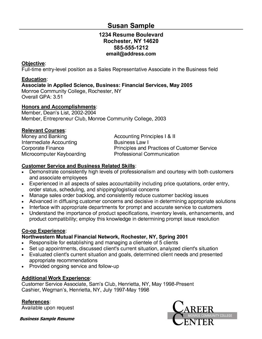 Sample Of Resume For Customer Service Assistant