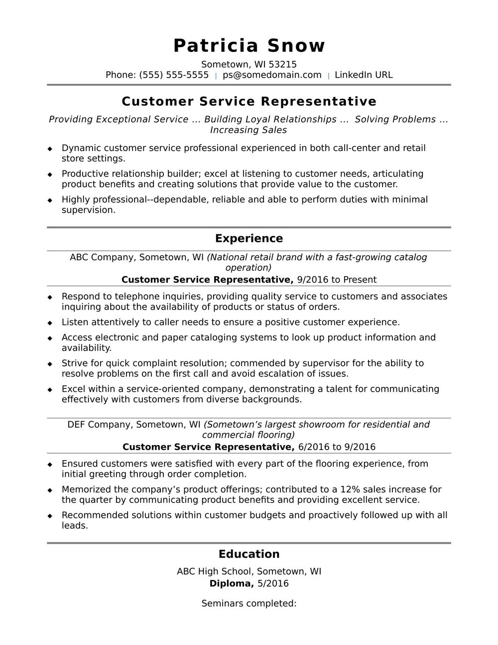 Sample Of Resume For Customer Service At A Call Center