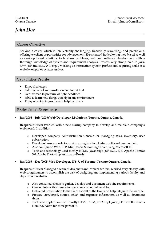 Sample Resume For .net Developer Experience