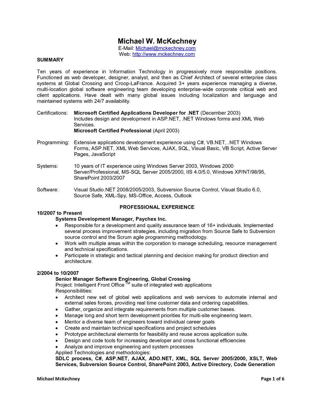 Sample Resume For Dot Net Developer Experience 10 Years