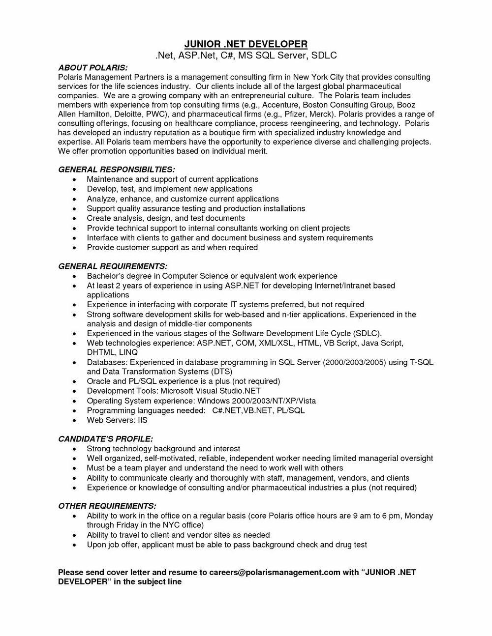 Sample Resume For Dot Net Developer Experience 8 Years