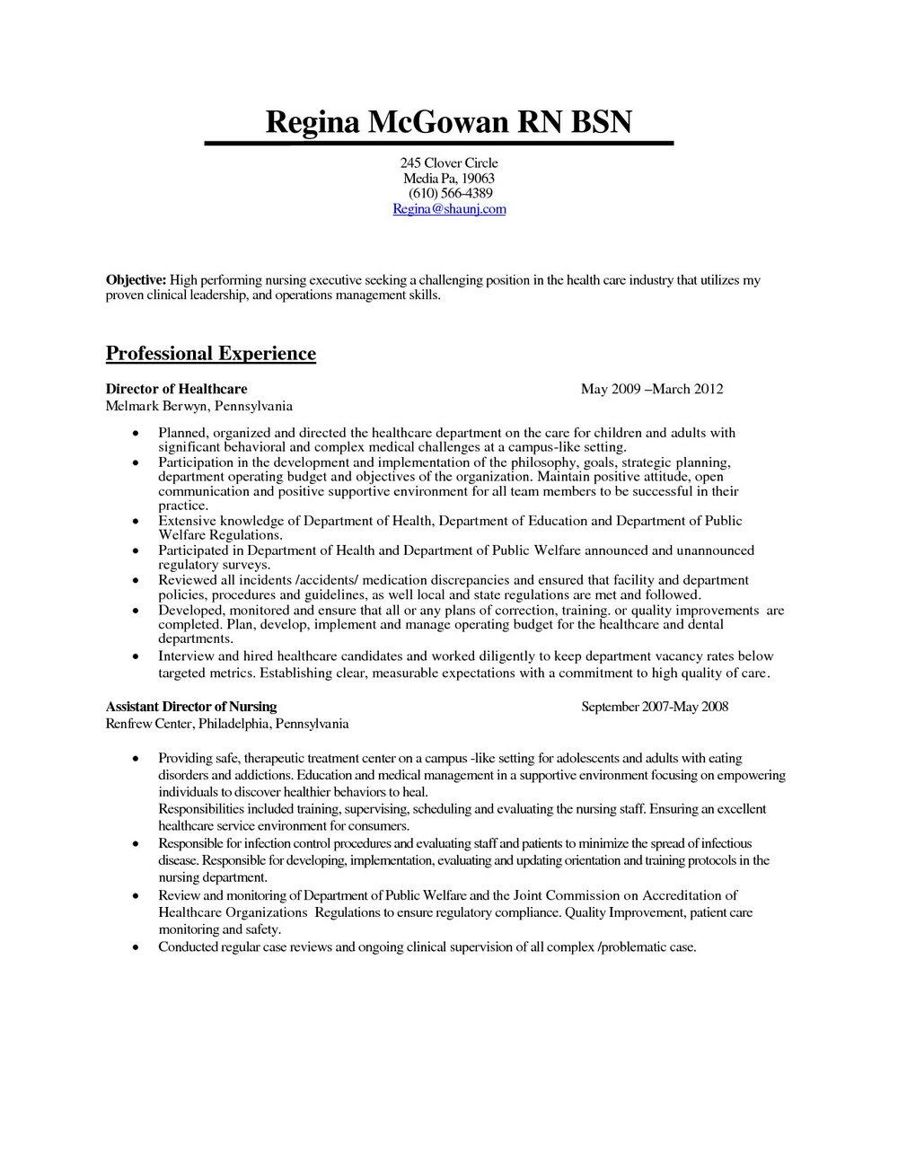 Sample Resume For Rn Bsn