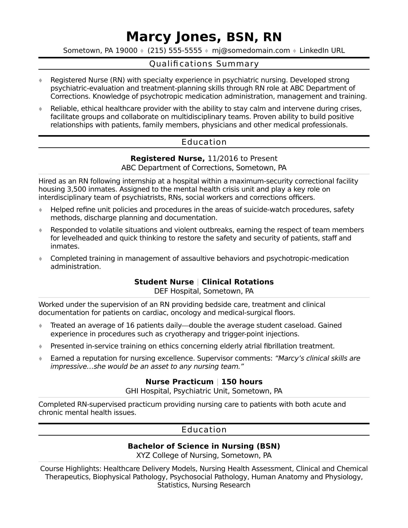 Sample Resume For Rn Nursing Home