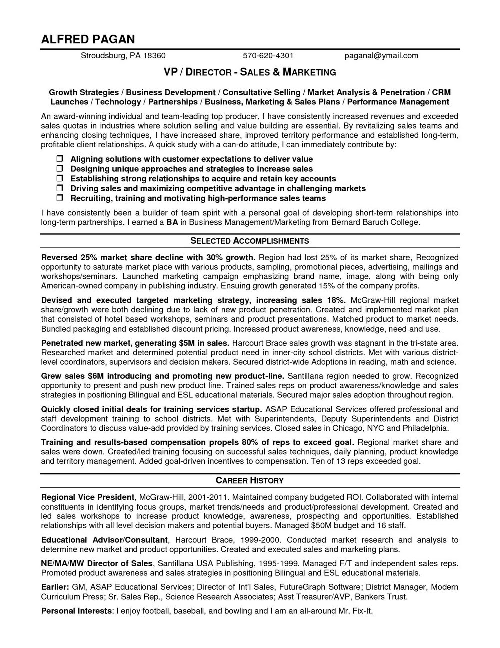 Sample Resume For Sales Manager In Hotel