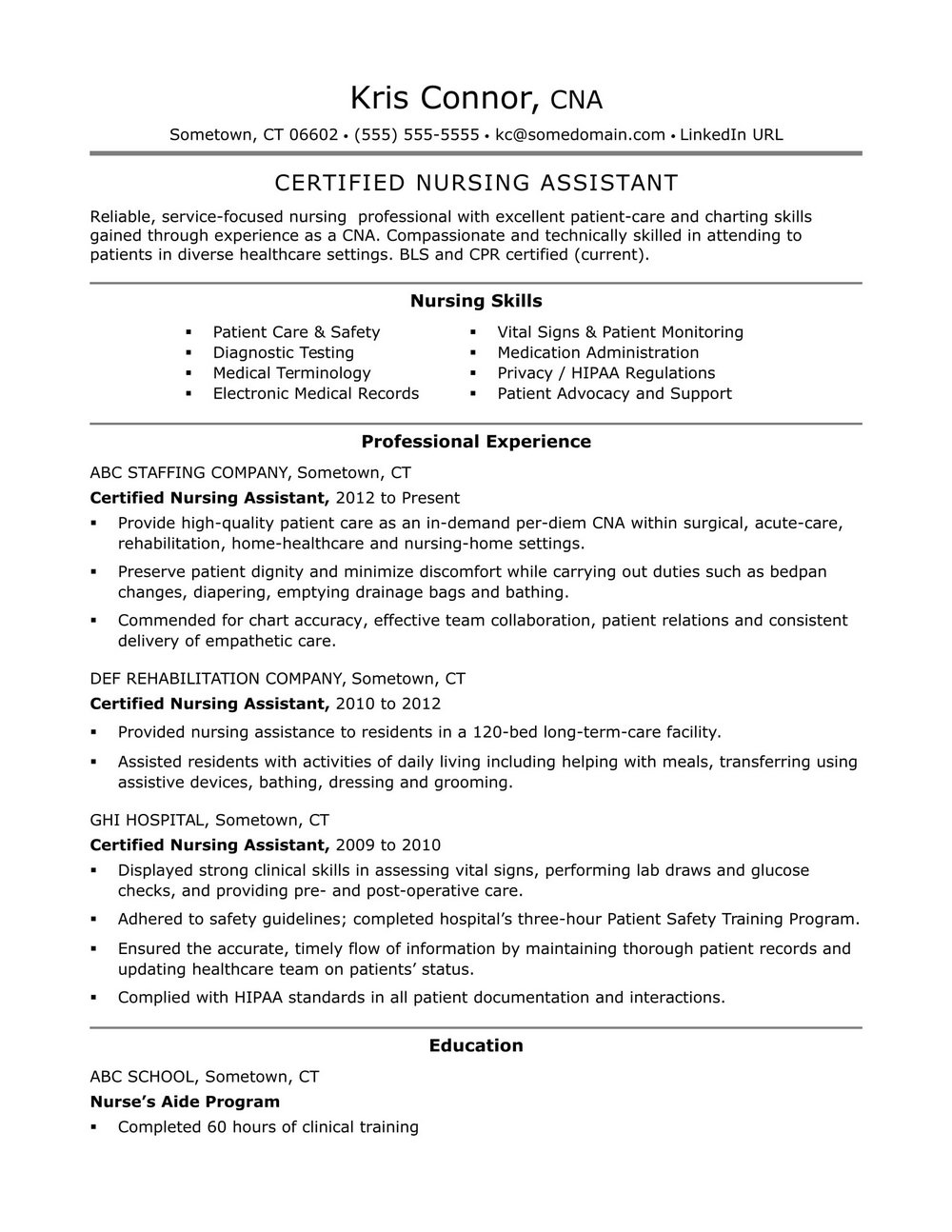 Sample Resume Nursing Assistant Hospital