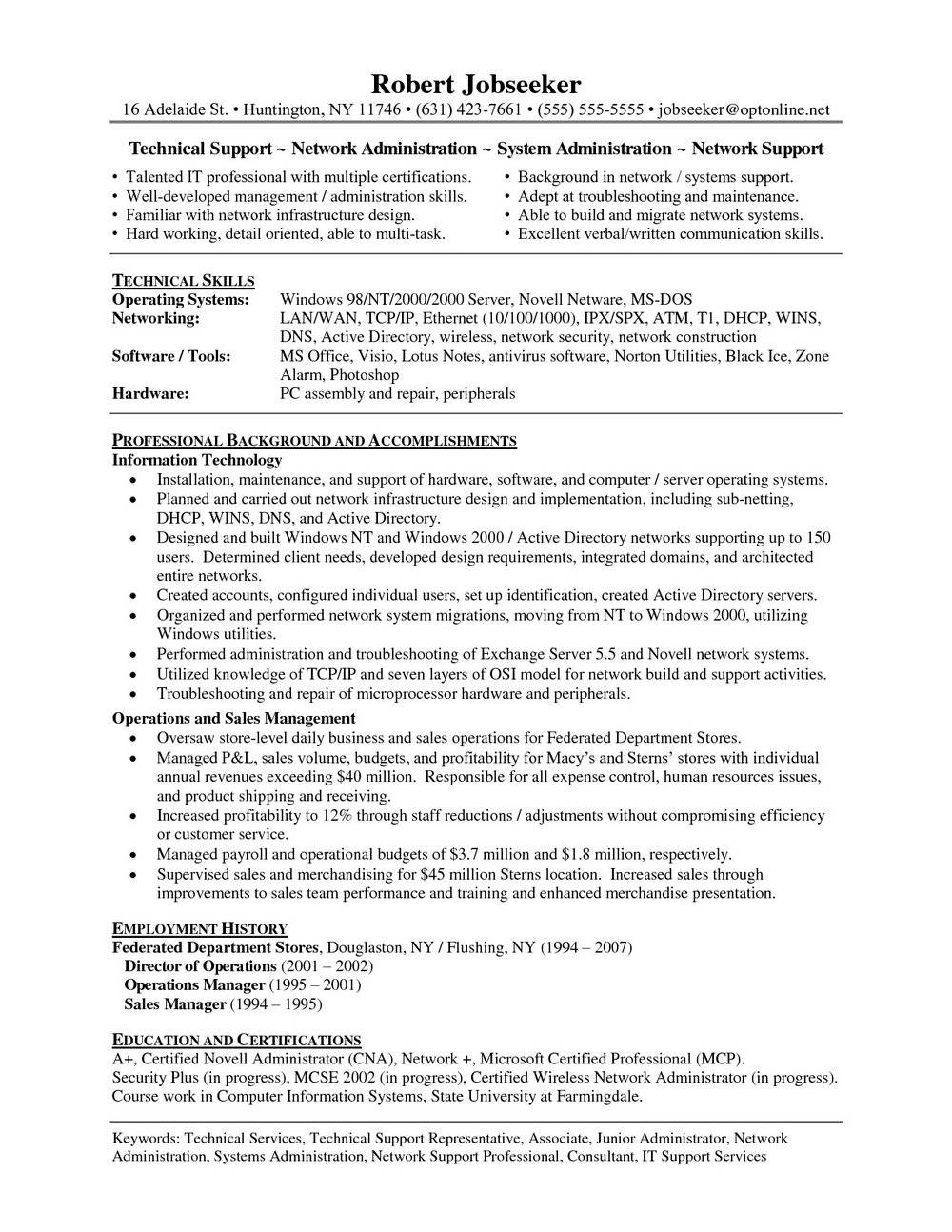 Sample Resume Of Computer Network Technician