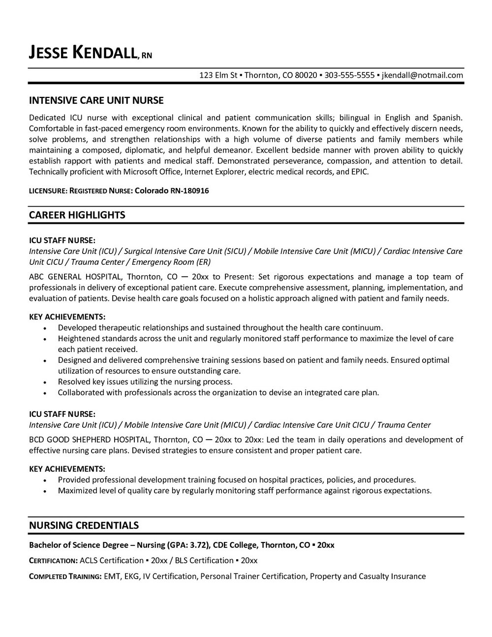Sample Rn Resume Cover Letter
