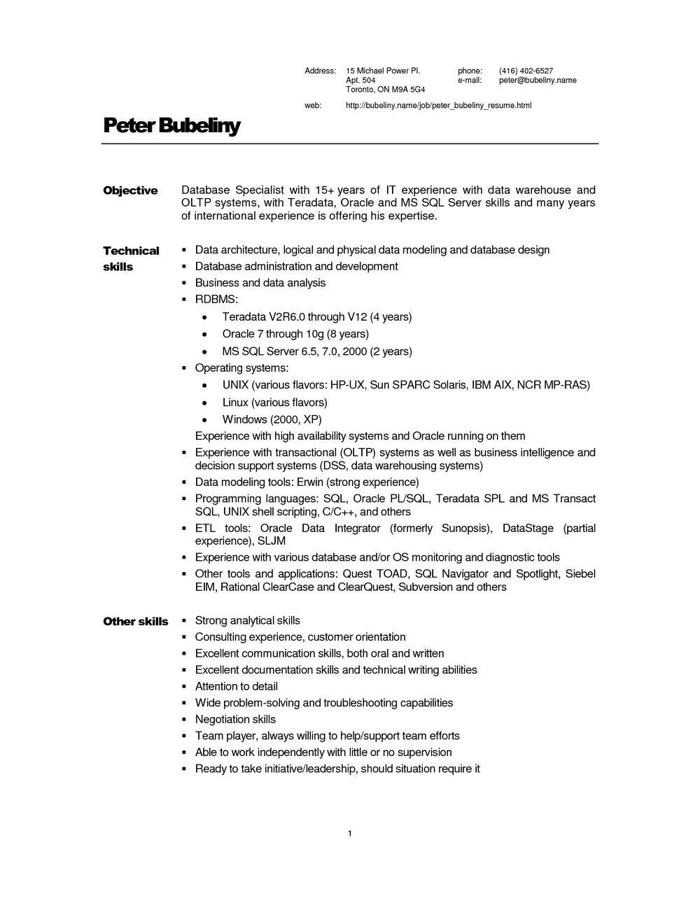 Sample Data Warehouse Resume | Universal Network