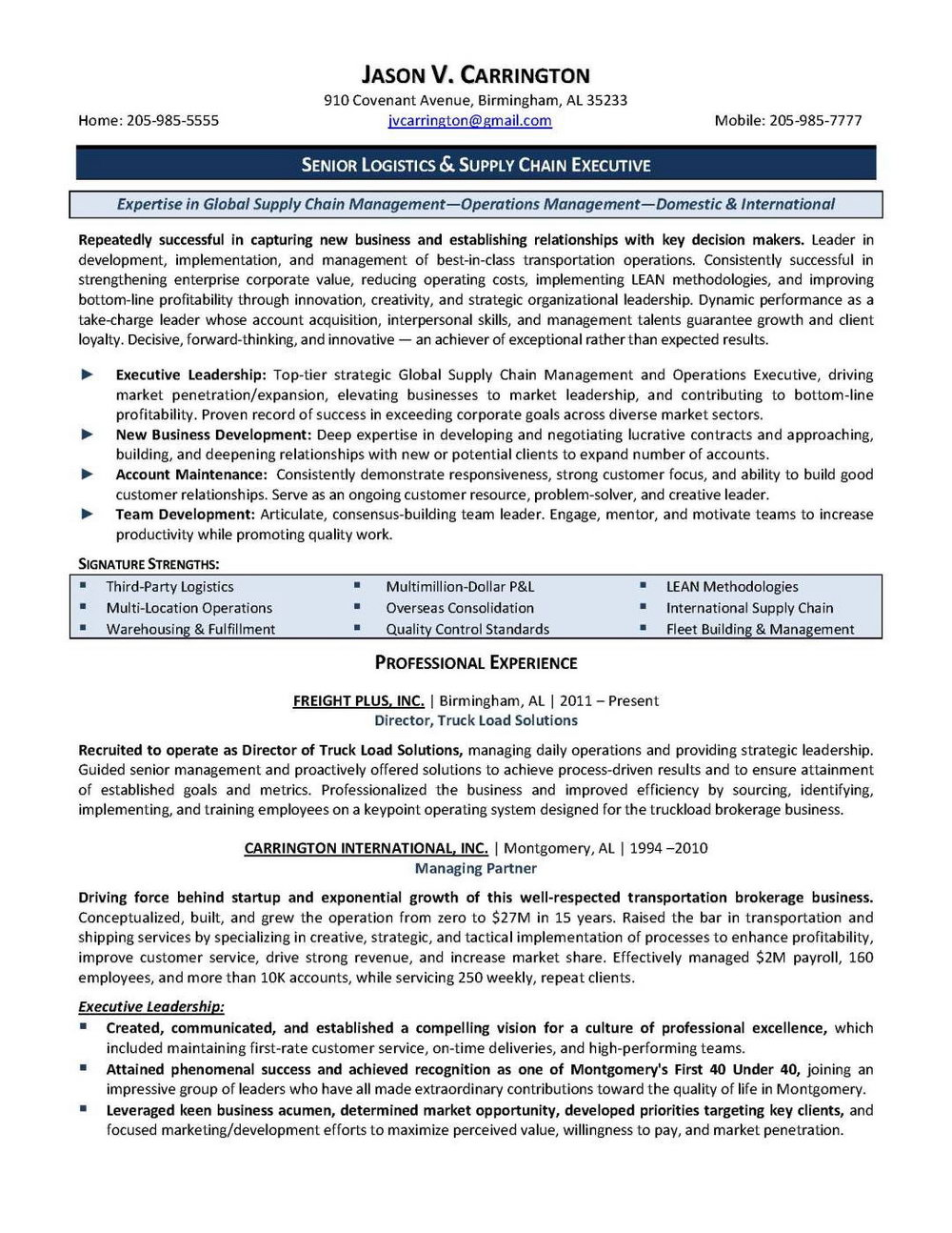 Senior Executive Service Resume Template