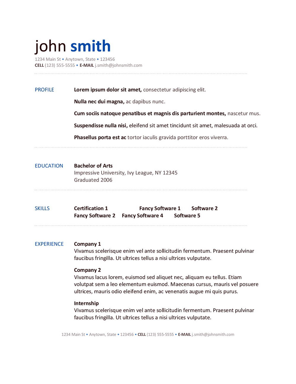 Simple Basic Resume Format Pdf