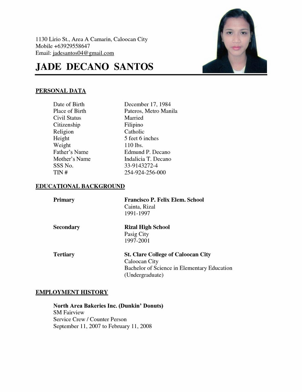 simple resume format for job fresher pdf