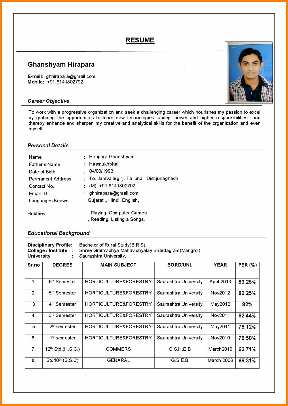 Simple Resume Format In Word File Download In India
