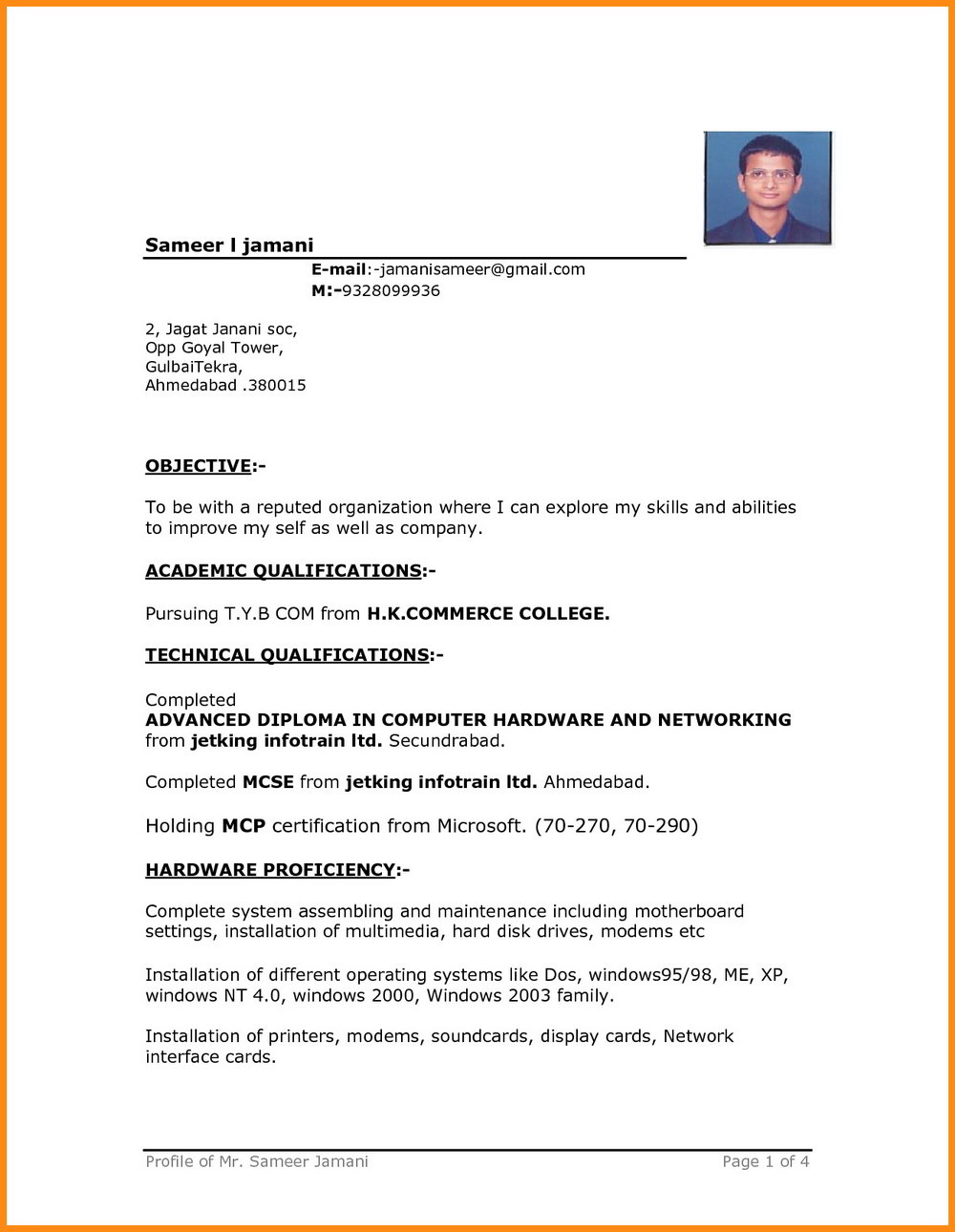 Simple Resume Format In Word India