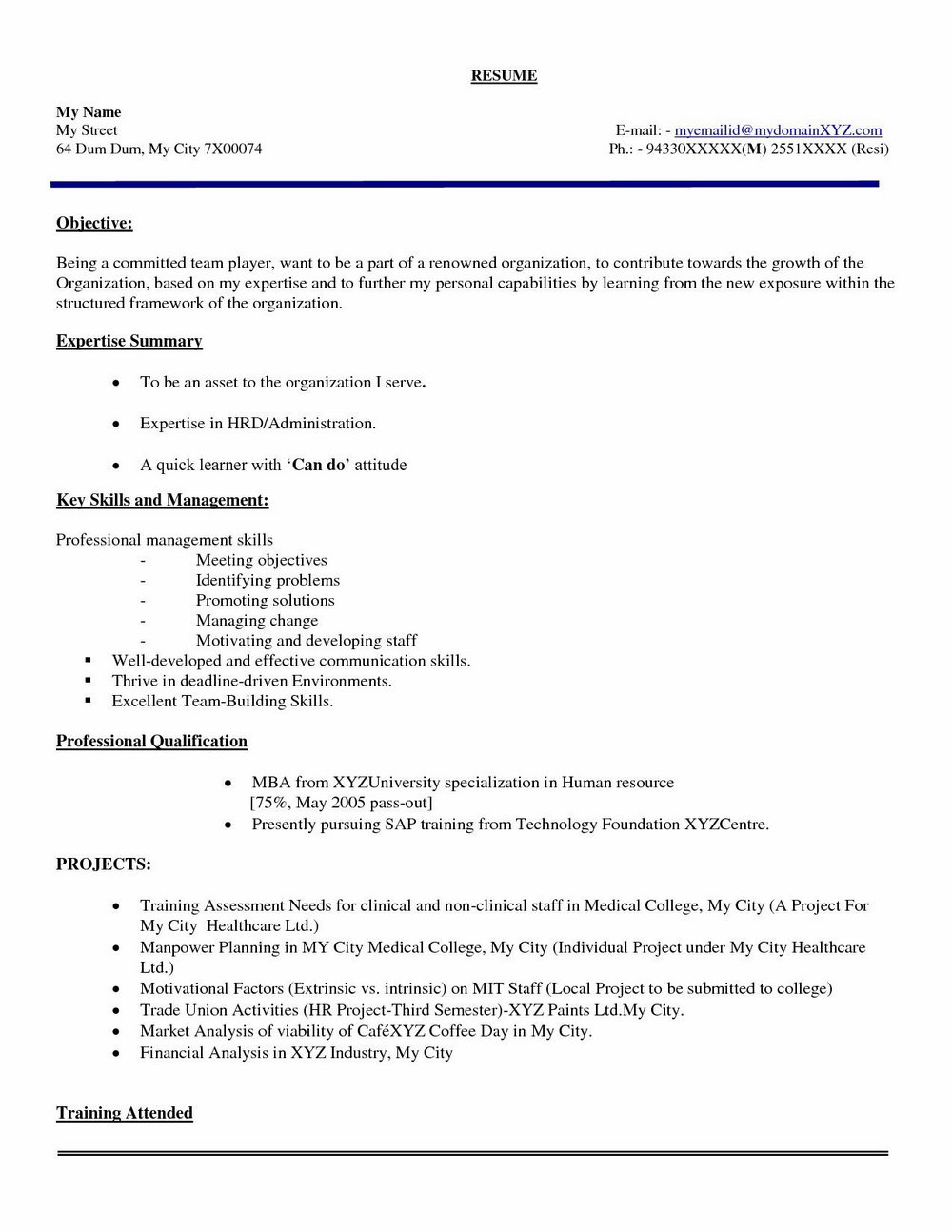 Simple Resume Format Pdf For Engineering Freshers