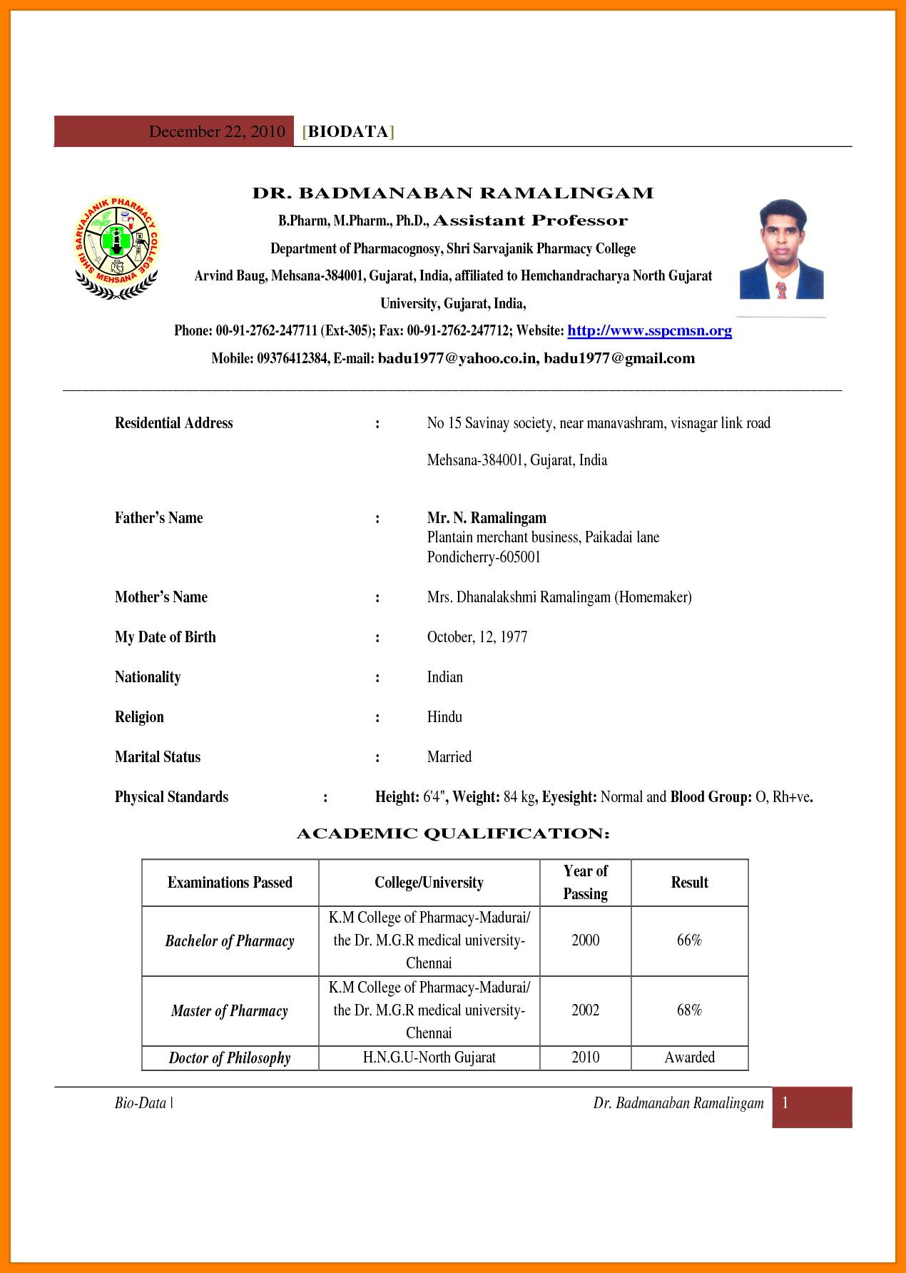 Simple Student Resume Format Pdf