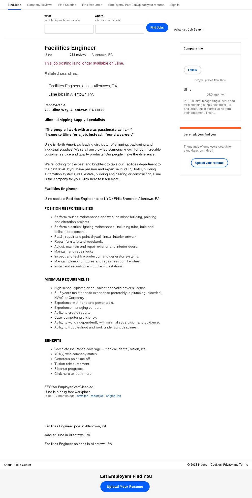 Uline Employment Application