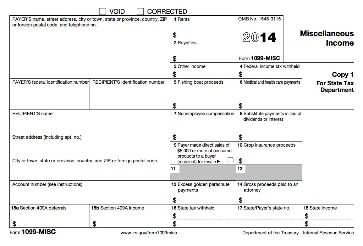 1099 Misc Form 2014