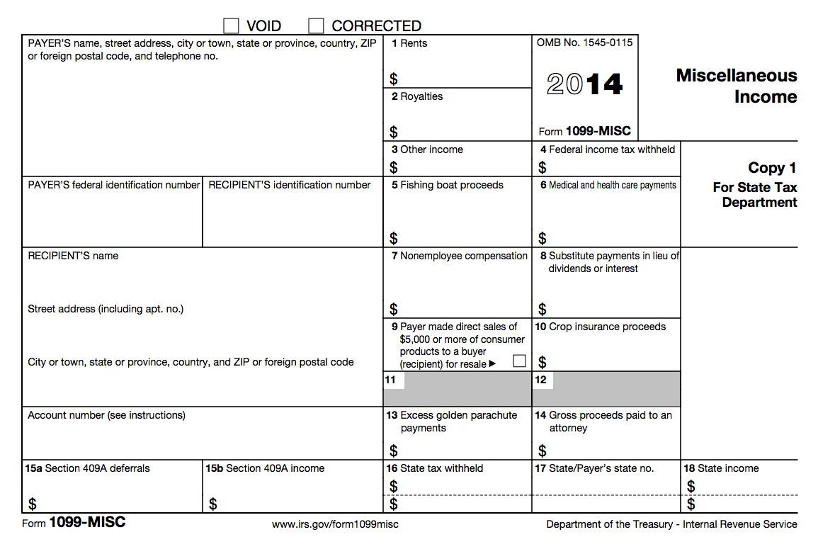 1099 Tax Form 2014 Printable