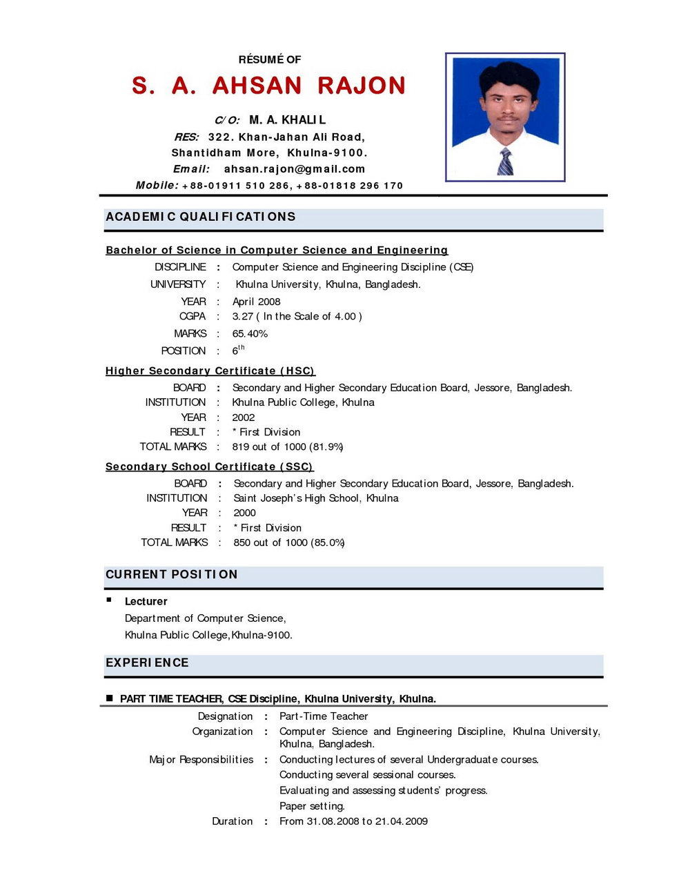 Best Resume Format For Experienced Free Download