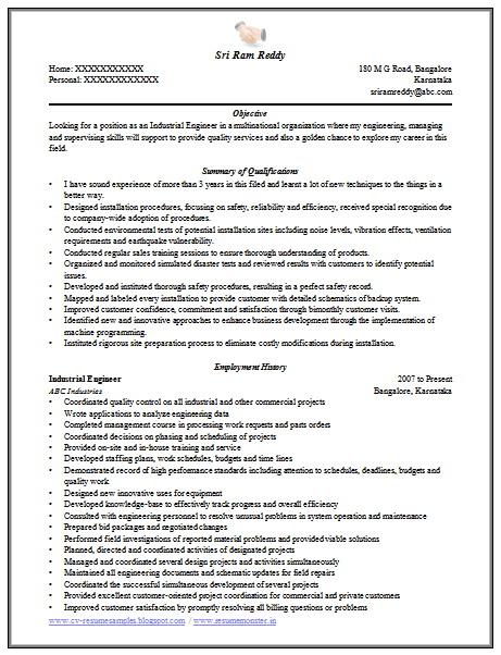 Engineering Sample Resume Format Download