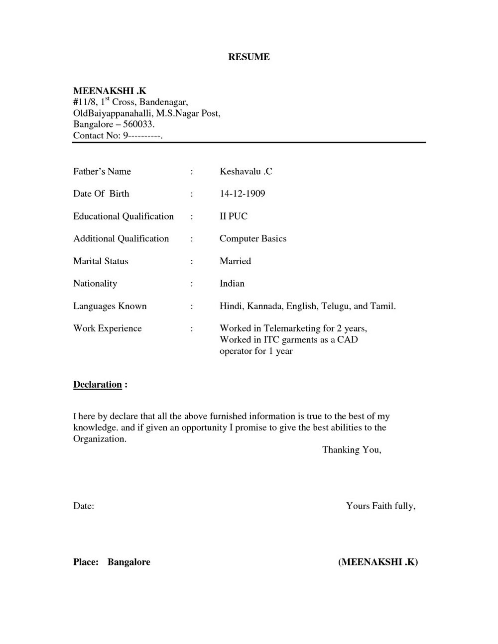 Free Download Simple Resume Format In Ms Word