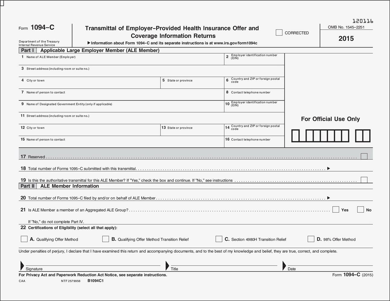Irs Aca Tax Forms