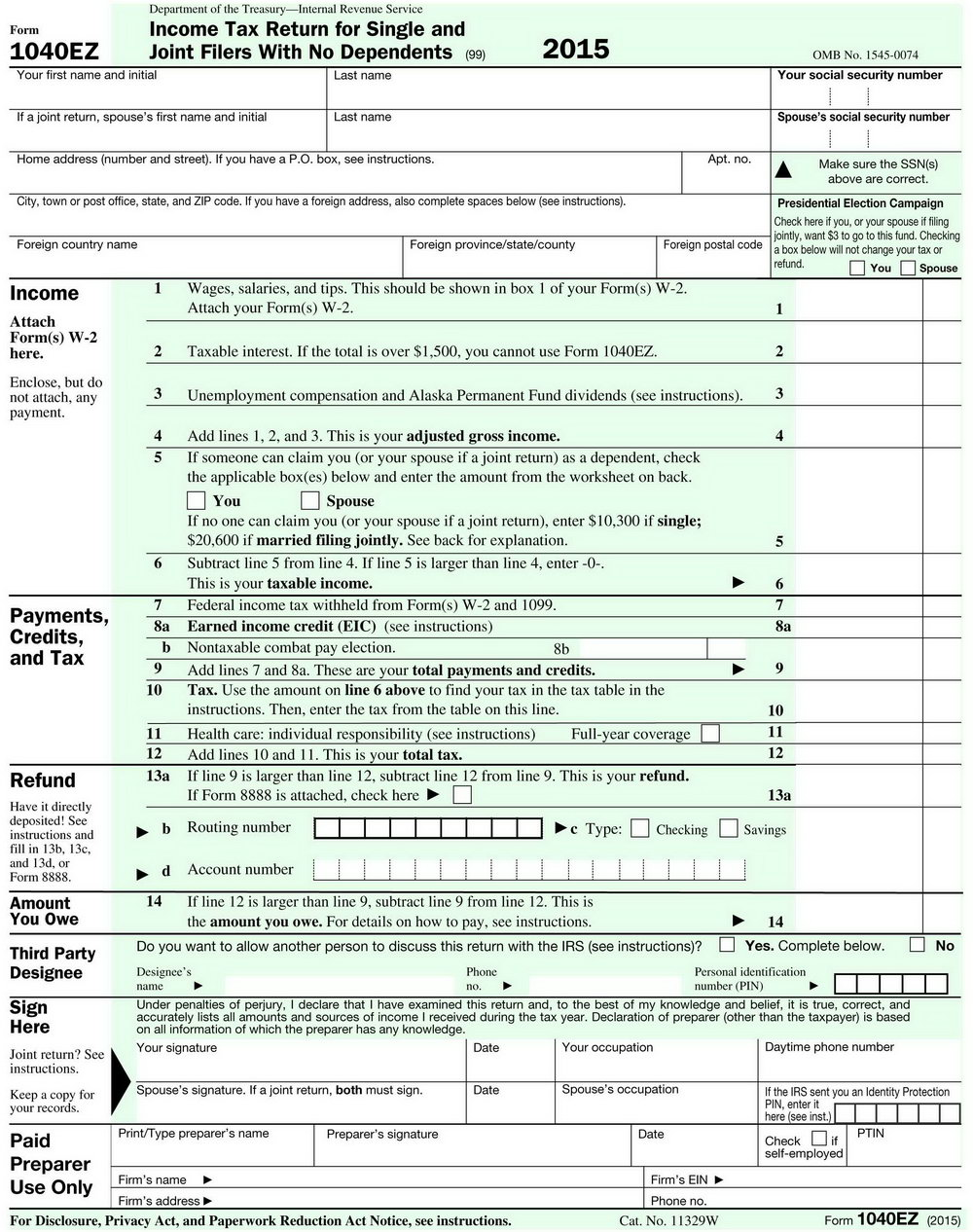 Irs Forms 1040ez Instructions