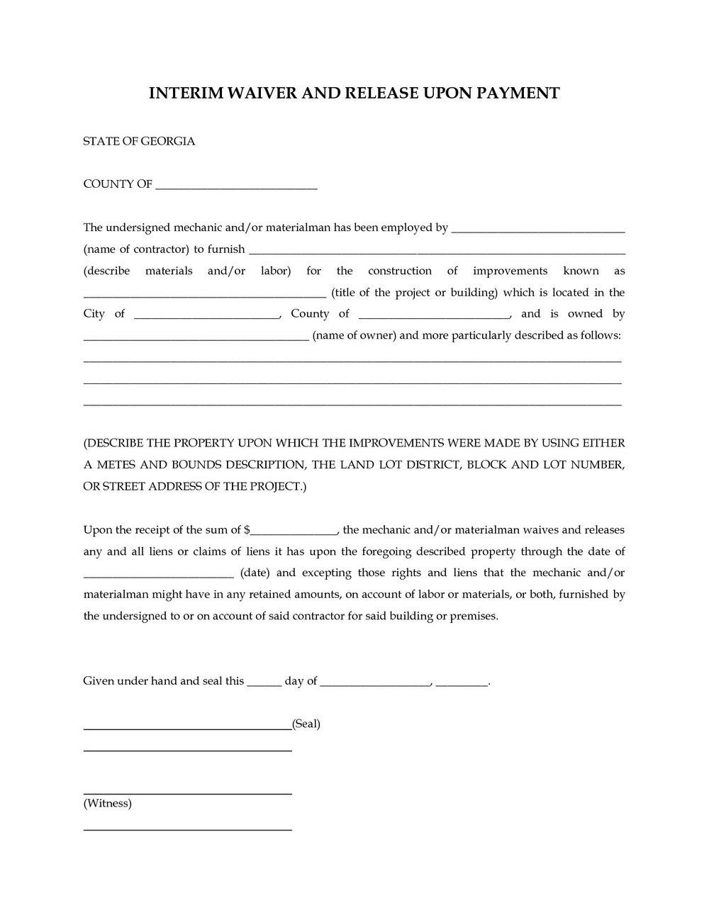 Lien Holder Release Form Ga