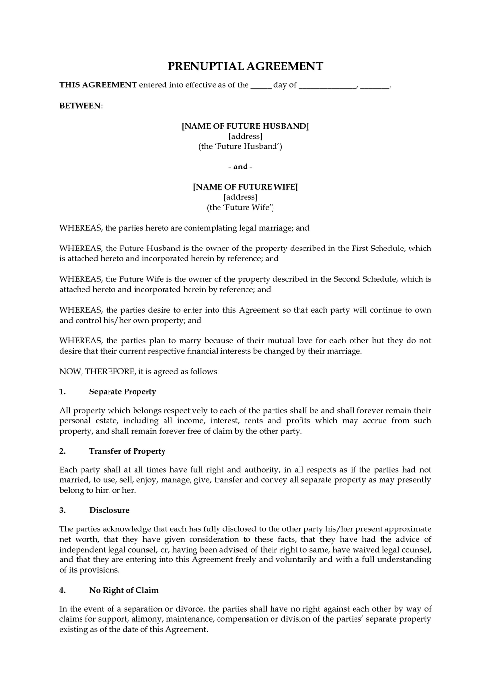 Prenuptial Agreement Form Free Download