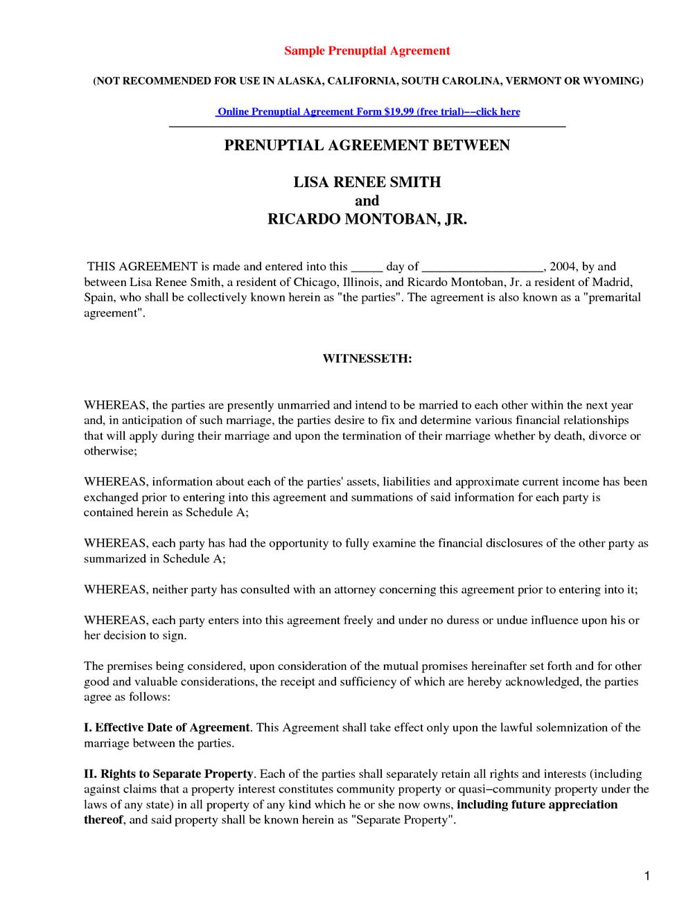 Prenuptial Agreement Form In Spanish