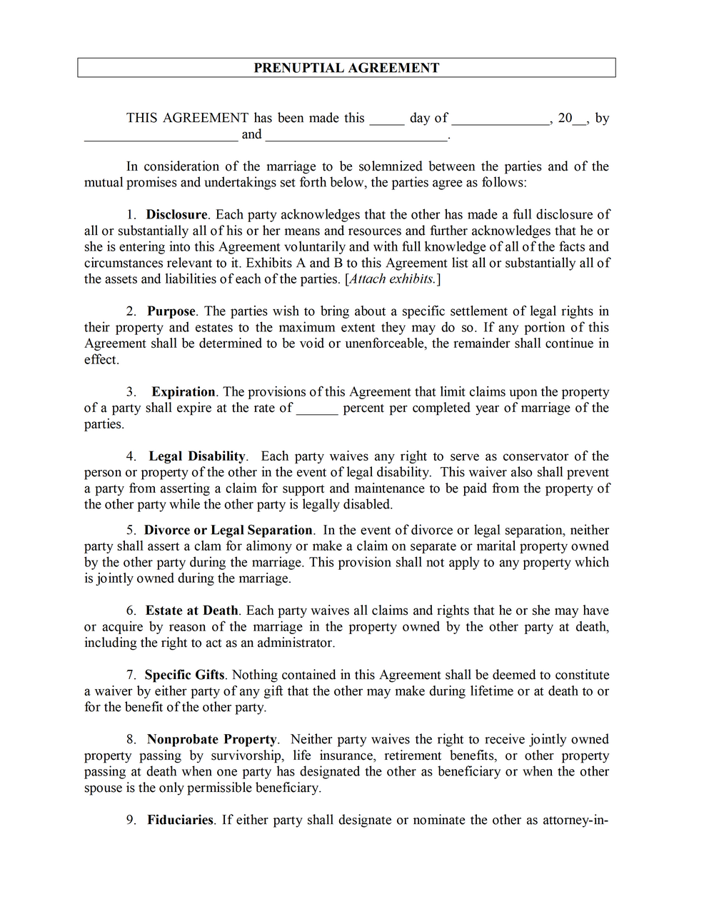 Prenuptial Agreement Forms
