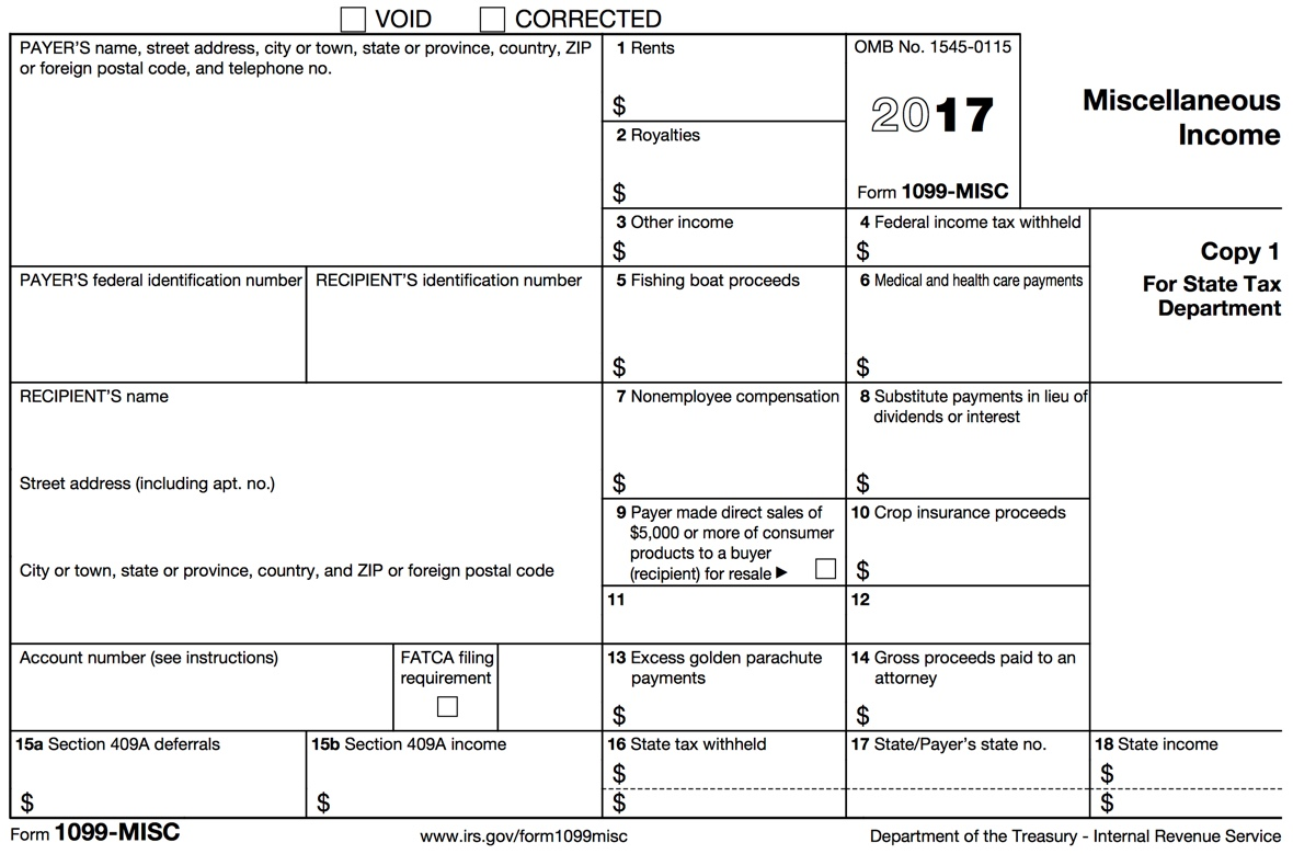 Printable 1099 Form 2017 Misc