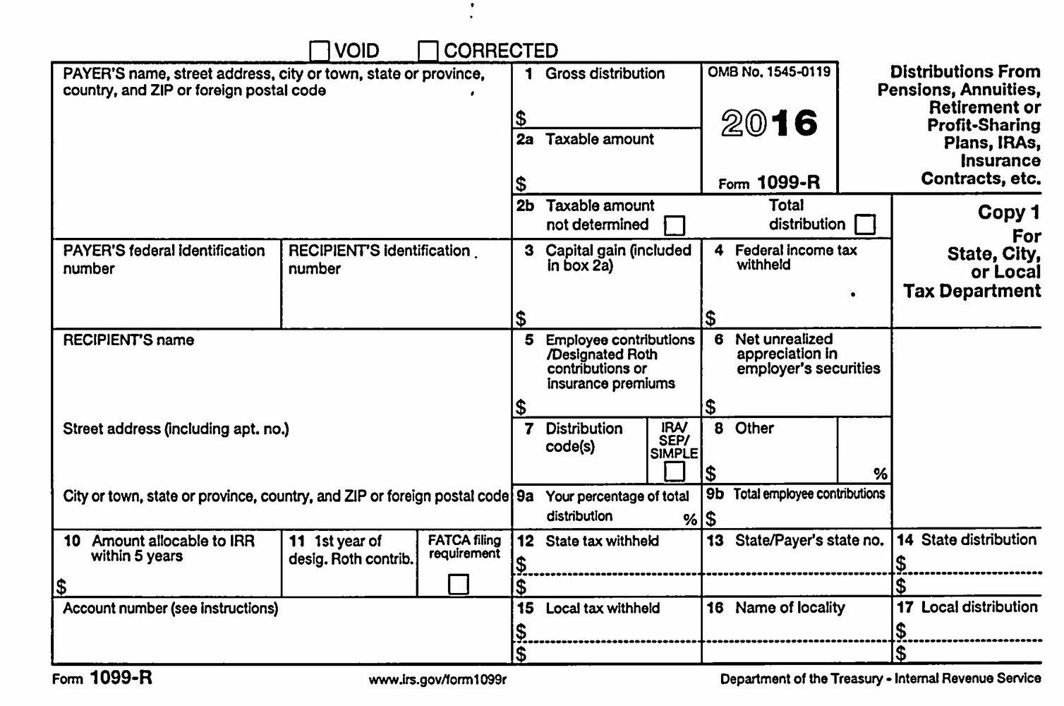 Printable 1099 Tax Form 2016