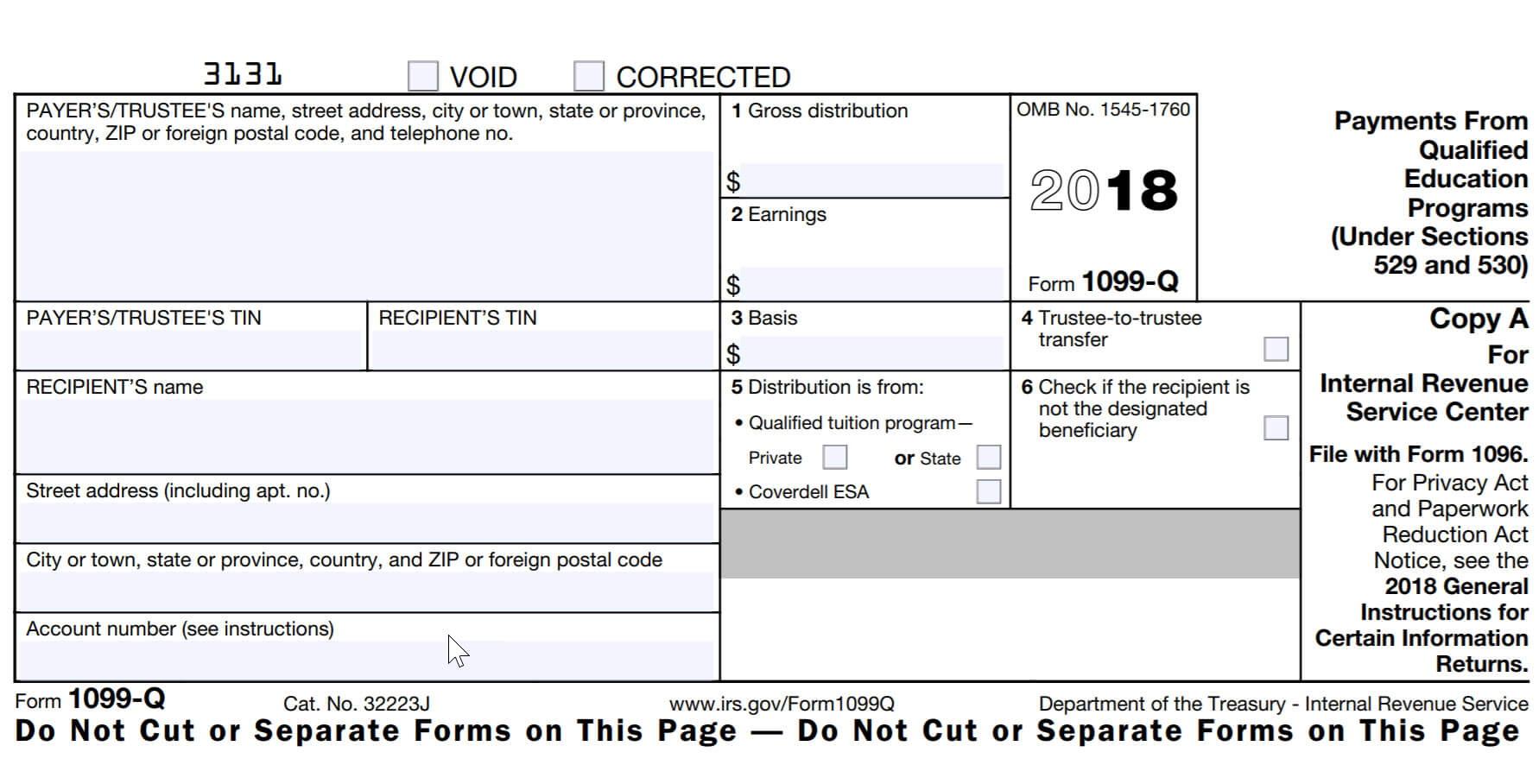 Printable 1099 Tax Form 2018