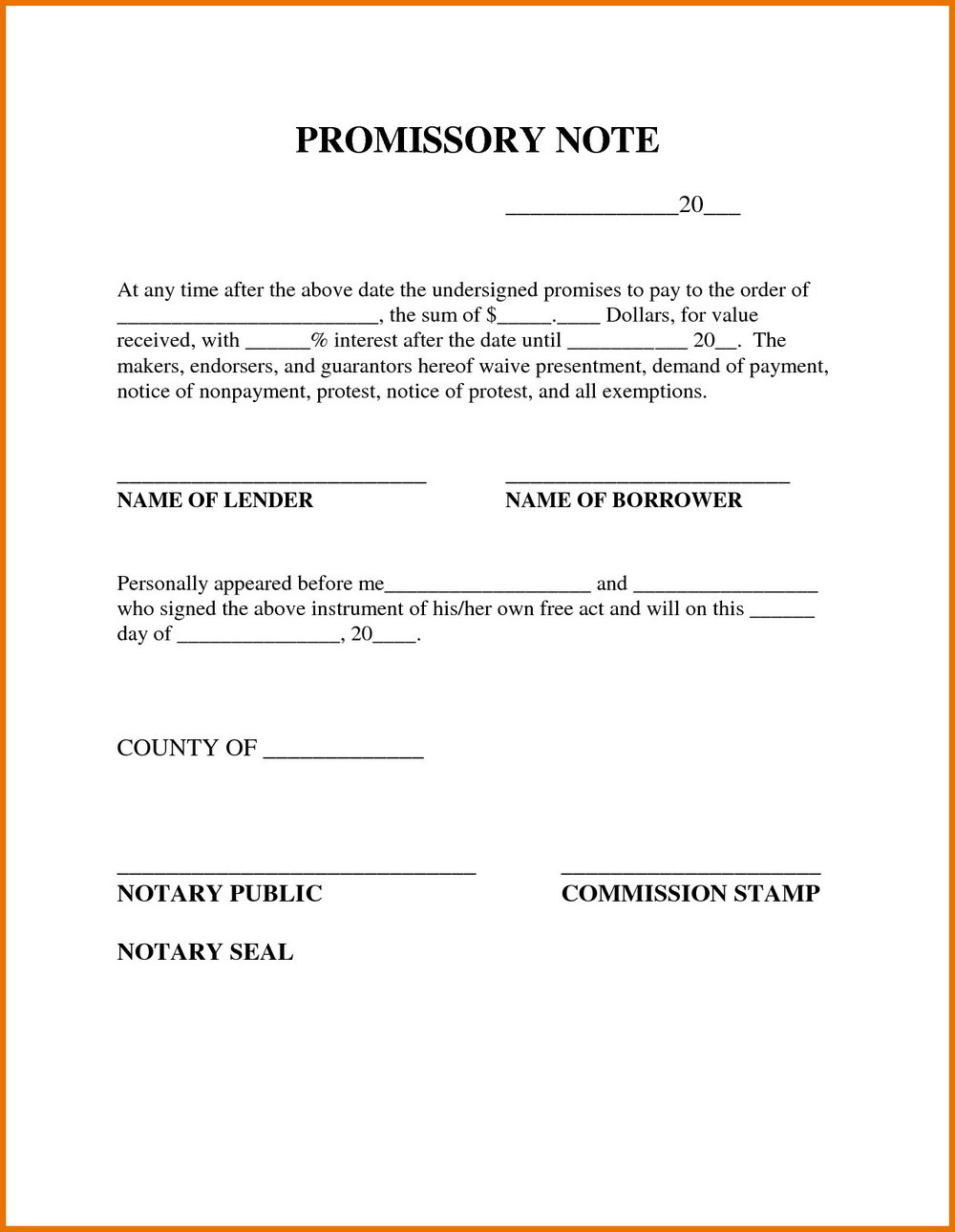 Promissory Note Format In English