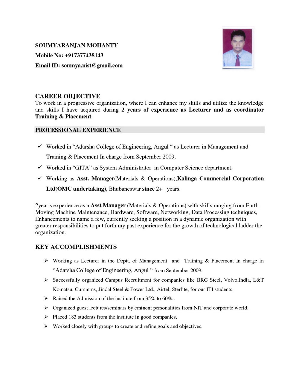Resume Format For Experienced Software Engineer+free Download