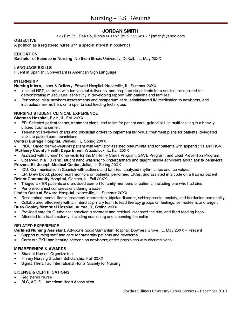 Resume Objective For A Charge Rn Position