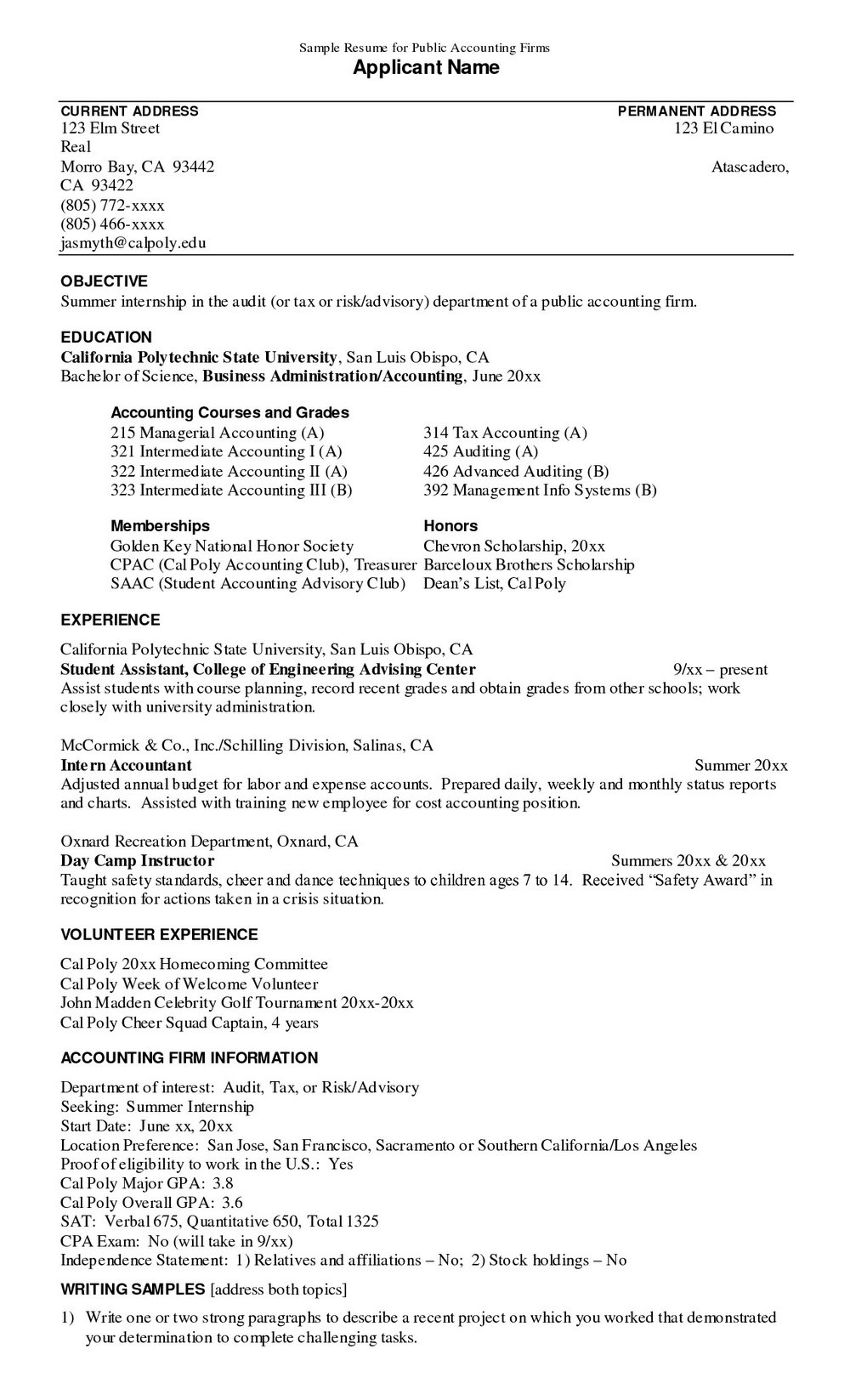 Resume Samples For Accounting Internship