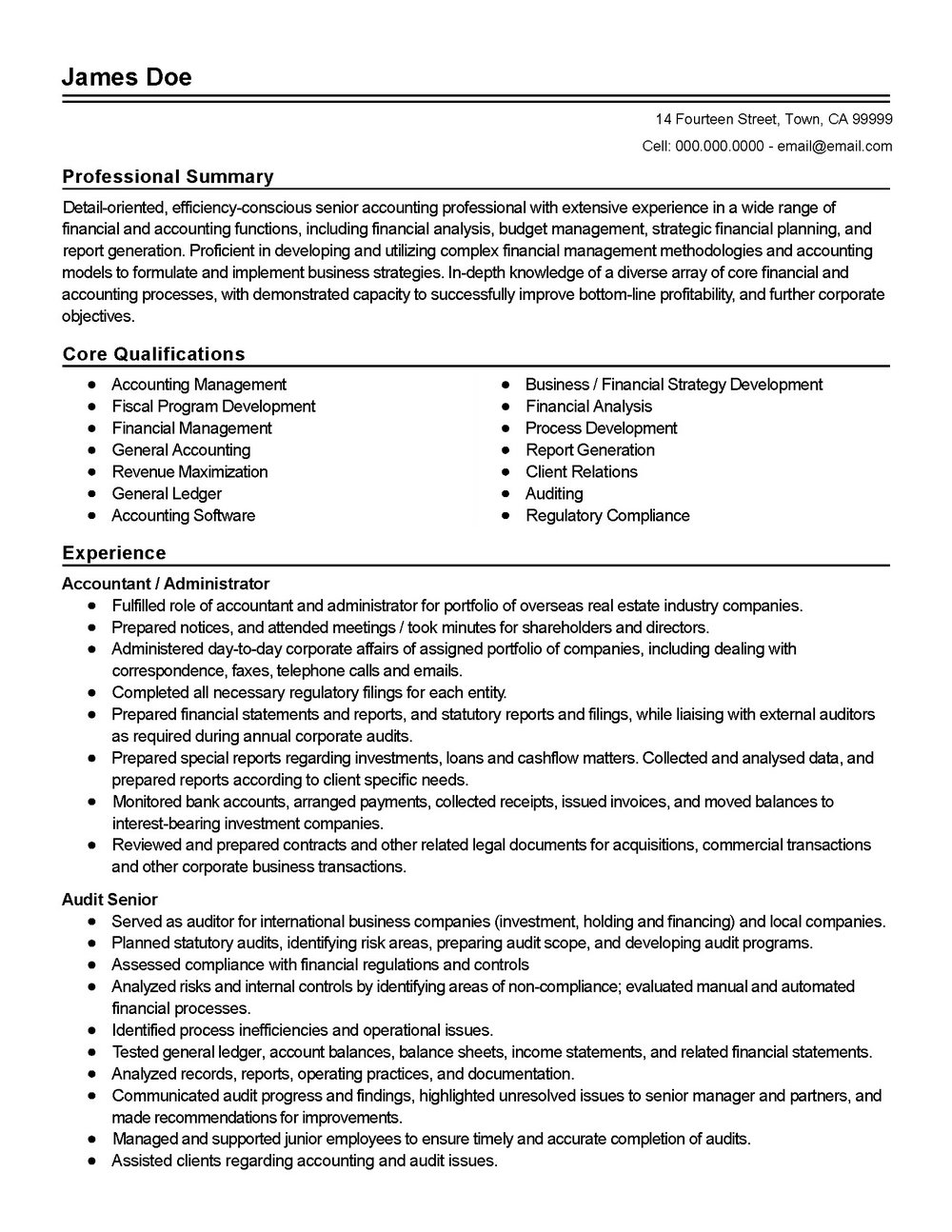 Resume Samples For Accounting Professionals