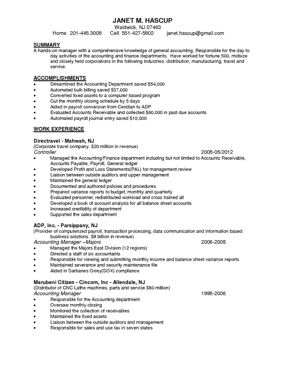 Resume Samples For Accounts Receivable Clerk